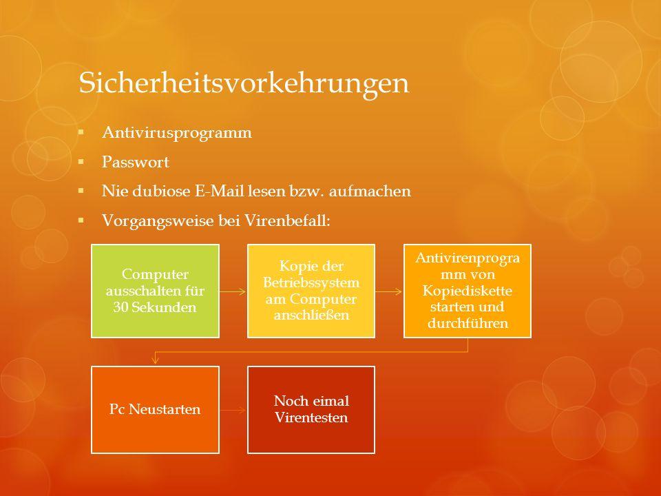 Sicherheitsvorkehrungen Antivirusprogramm Passwort Nie dubiose E-Mail lesen bzw. aufmachen Vorgangsweise bei Virenbefall: Computer ausschalten für 30