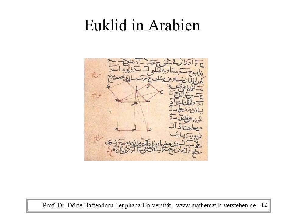 Prof. Dr. Dörte Haftendorn Leuphana Universität www.mathematik-verstehen.de Euklid in Arabien 12