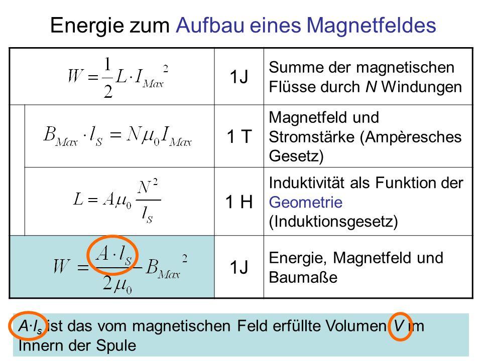 Energie zum Aufbau eines Magnetfeldes 1J Summe der magnetischen Flüsse durch N Windungen 1 T Magnetfeld und Stromstärke (Ampèresches Gesetz) 1 H Induk