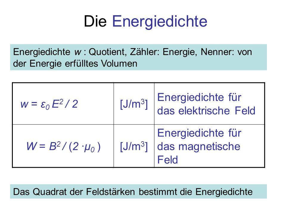 Die Energiedichte Energiedichte w : Quotient, Zähler: Energie, Nenner: von der Energie erfülltes Volumen w = ε 0 E 2 / 2[J/m 3 ] Energiedichte für das