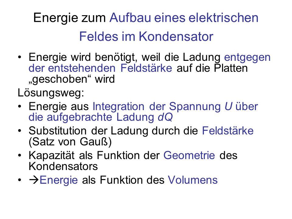 Die Energiedichte Energiedichte w : Quotient, Zähler: Energie, Nenner: von der Energie erfülltes Volumen w = ε 0 E 2 / 2[J/m 3 ] Energiedichte für das elektrische Feld W = B 2 / (2 ·μ 0 )[J/m 3 ] Energiedichte für das magnetische Feld Das Quadrat der Feldstärken bestimmt die Energiedichte