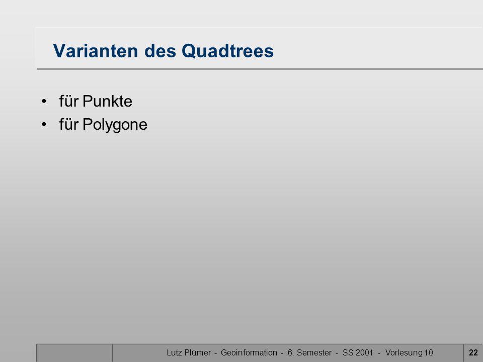 Lutz Plümer - Geoinformation - 6. Semester - SS 2001 - Vorlesung 1022 Varianten des Quadtrees für Punkte für Polygone