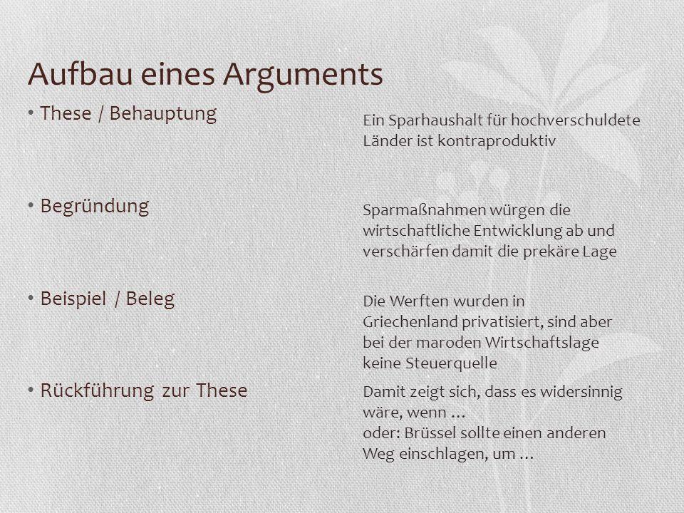 Aufbau eines Arguments These / Behauptung Begründung Beispiel / Beleg Rückführung zur These Damit zeigt sich, dass es widersinnig wäre, wenn … oder: B