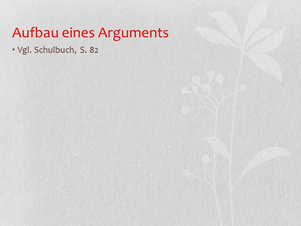Aufbau eines Arguments Vgl. Schulbuch, S. 82