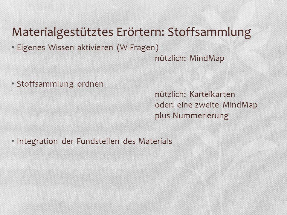 Materialgestütztes Erörtern: Stoffsammlung Eigenes Wissen aktivieren (W-Fragen) nützlich: MindMap Stoffsammlung ordnen nützlich: Karteikarten oder: ei