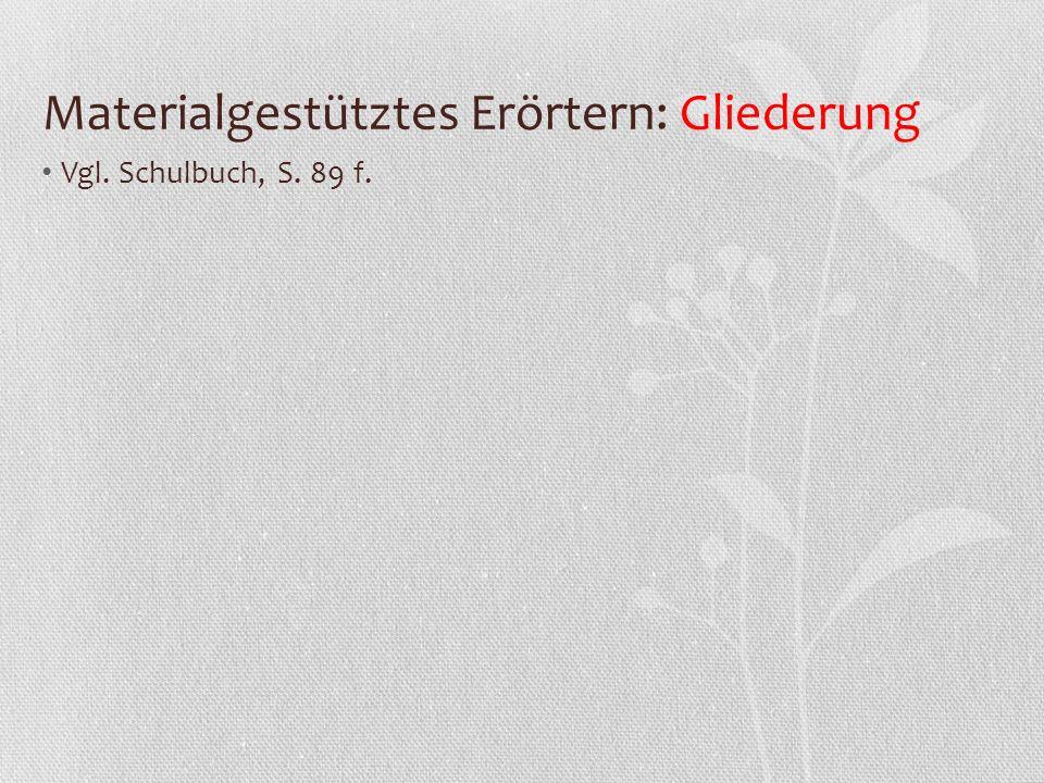 Materialgestütztes Erörtern: Gliederung Vgl. Schulbuch, S. 89 f.