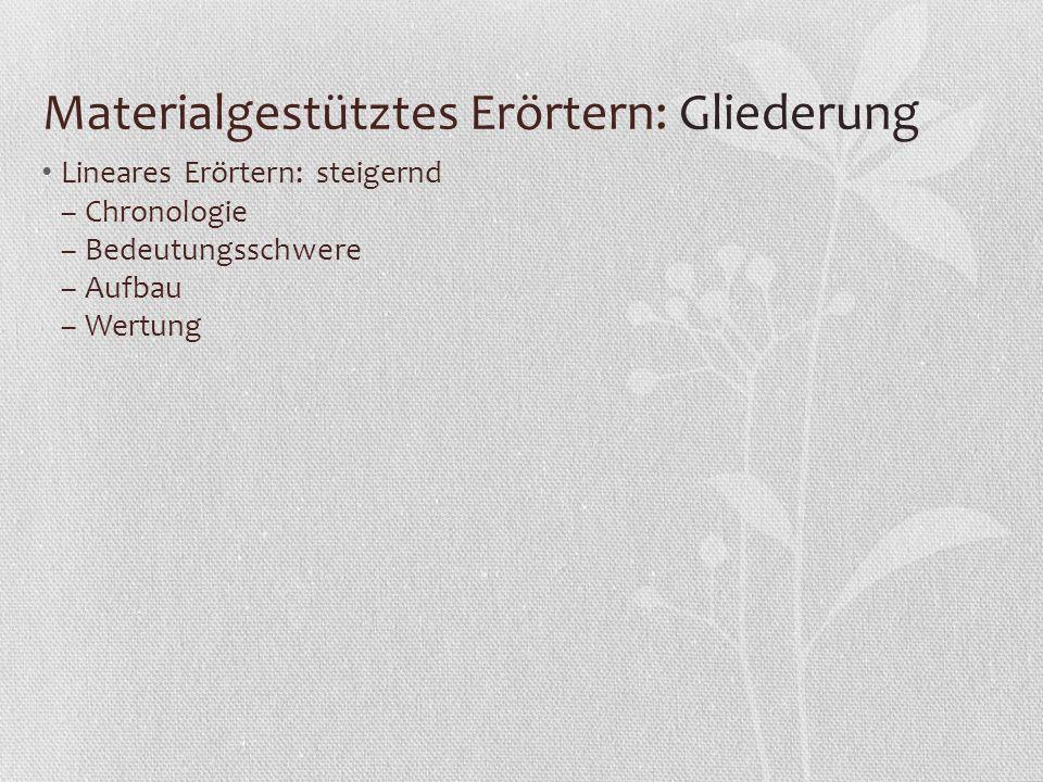 Materialgestütztes Erörtern: Gliederung Lineares Erörtern: steigernd – Chronologie – Bedeutungsschwere – Aufbau – Wertung
