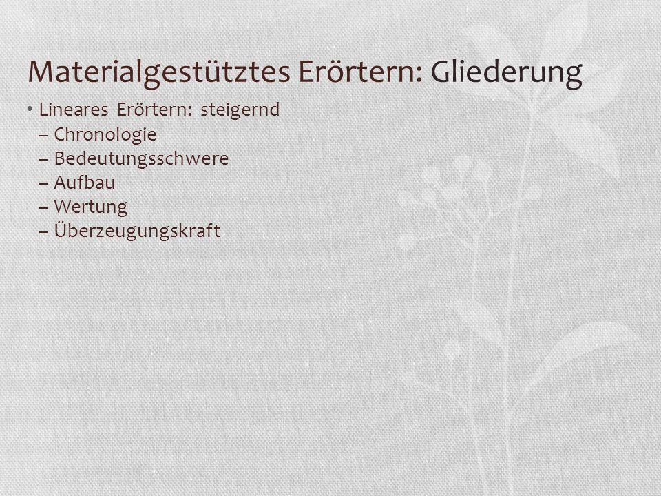 Materialgestütztes Erörtern: Gliederung Lineares Erörtern: steigernd – Chronologie – Bedeutungsschwere – Aufbau – Wertung – Überzeugungskraft