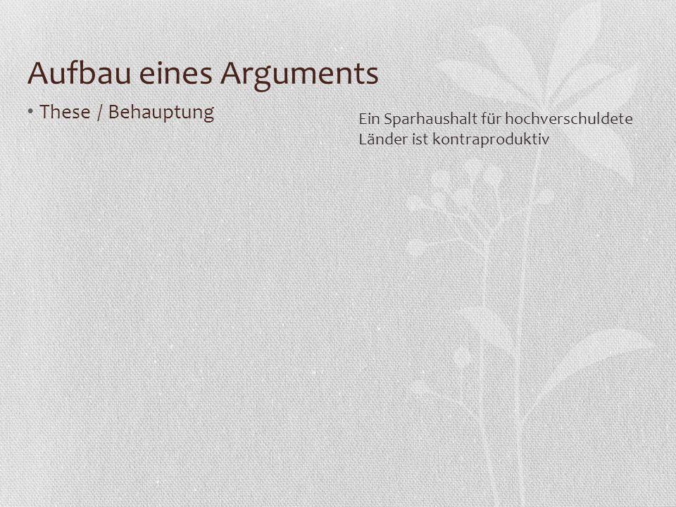 Aufbau eines Arguments These / Behauptung Begründung