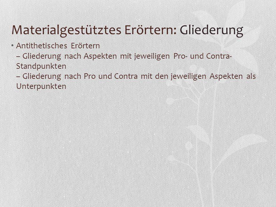 Materialgestütztes Erörtern: Gliederung Antithetisches Erörtern – Gliederung nach Aspekten mit jeweiligen Pro- und Contra- Standpunkten – Gliederung n