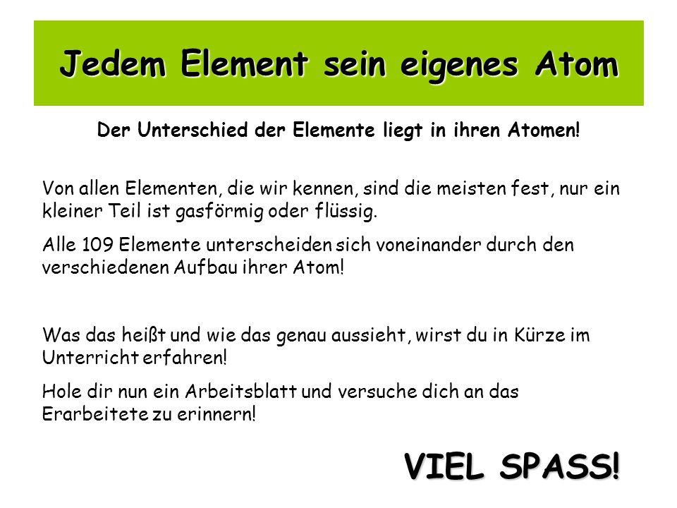 Jedem Element sein eigenes Atom Der Unterschied der Elemente liegt in ihren Atomen! Von allen Elementen, die wir kennen, sind die meisten fest, nur ei