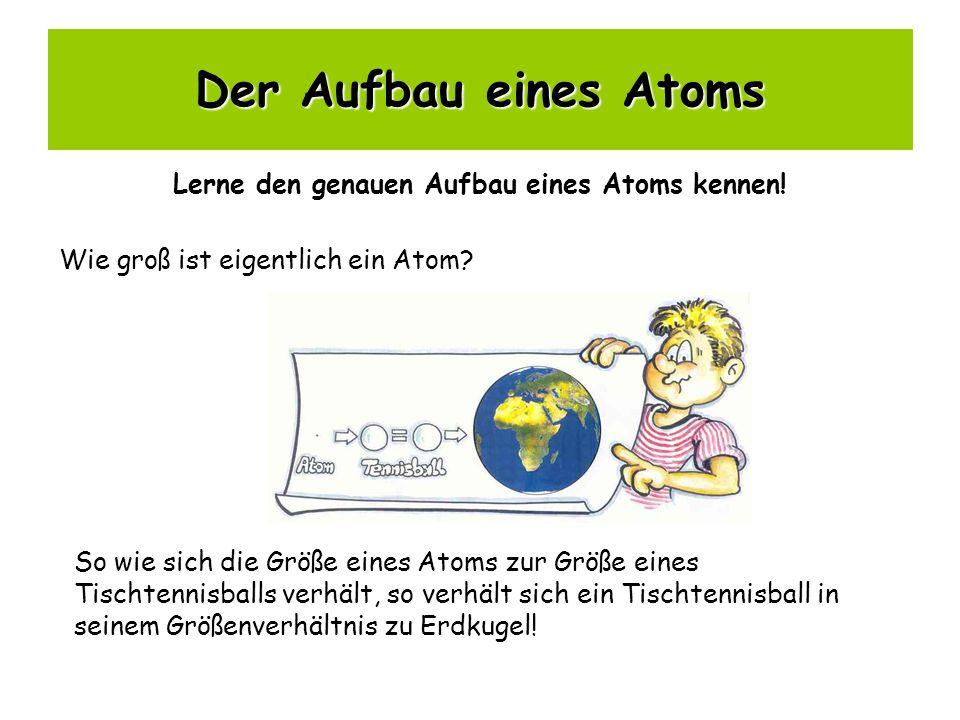 Der Aufbau eines Atoms Lerne den genauen Aufbau eines Atoms kennen! Wie groß ist eigentlich ein Atom? So wie sich die Größe eines Atoms zur Größe eine
