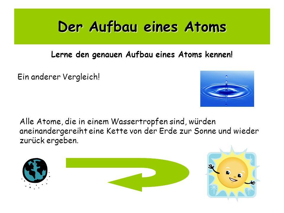 Der Aufbau eines Atoms Lerne den genauen Aufbau eines Atoms kennen! Ein anderer Vergleich! Alle Atome, die in einem Wassertropfen sind, würden aneinan