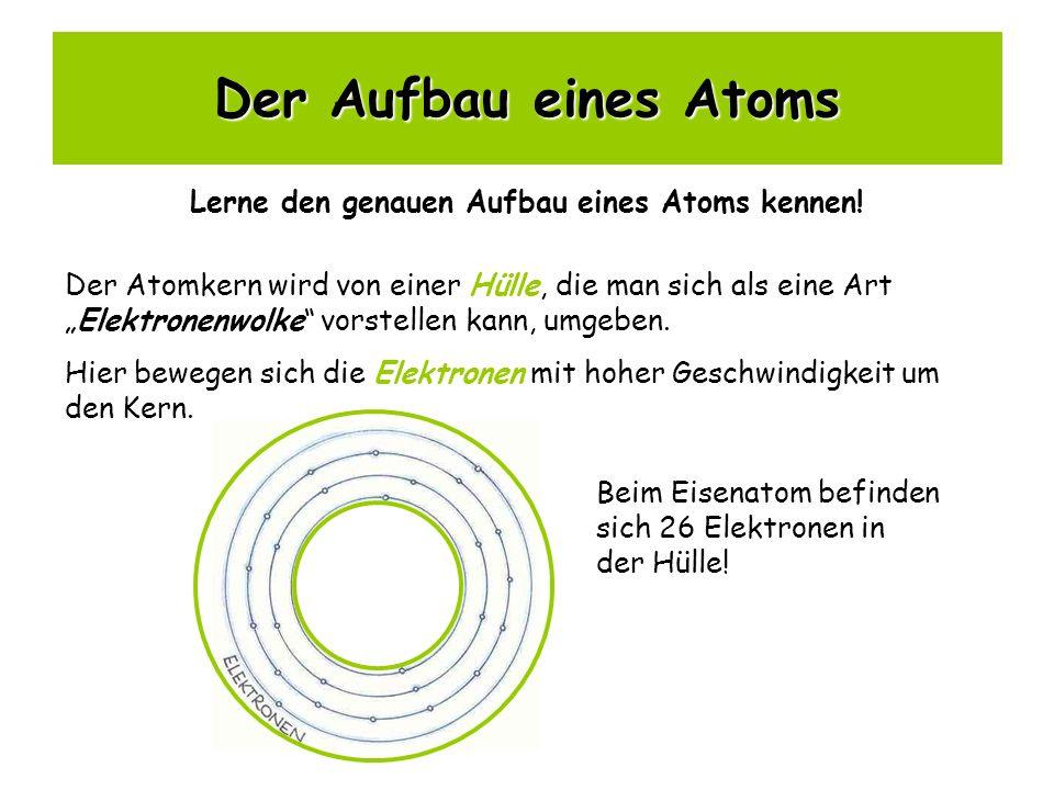 Der Aufbau eines Atoms Lerne den genauen Aufbau eines Atoms kennen! Der Atomkern wird von einer Hülle, die man sich als eine ArtElektronenwolke vorste
