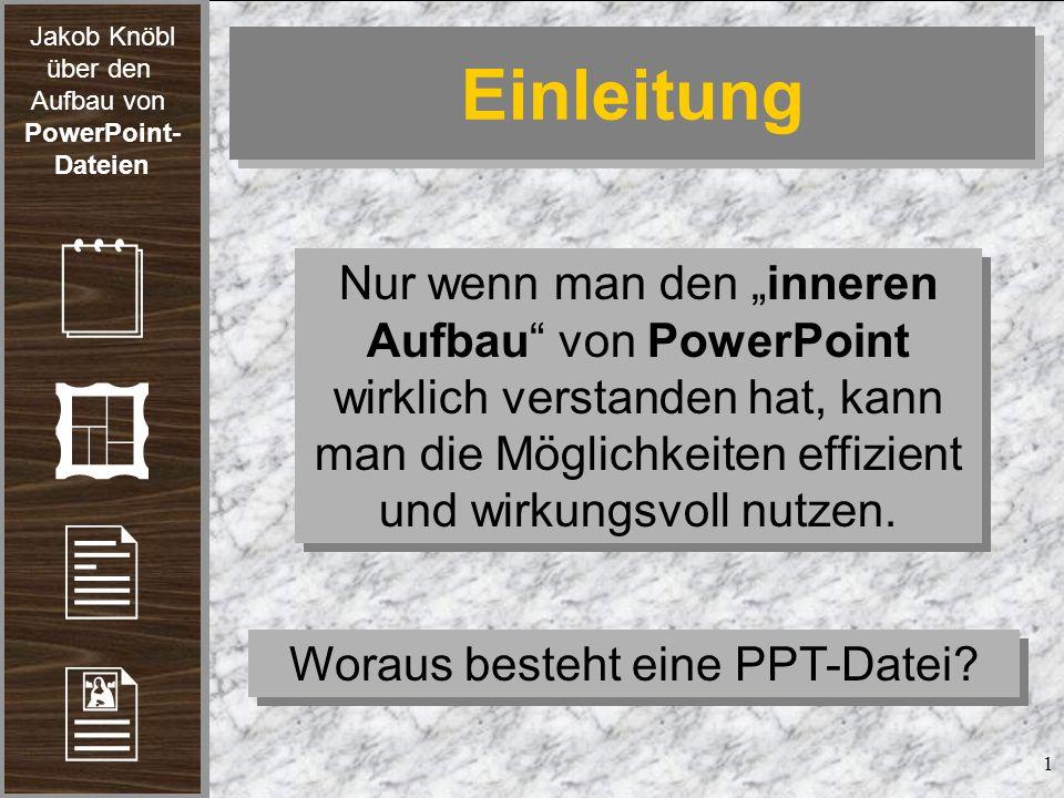 Jakob Knöbl über den Aufbau von PowerPoint- Dateien 2 Hierarchie Woraus besteht eine PPT-Datei.