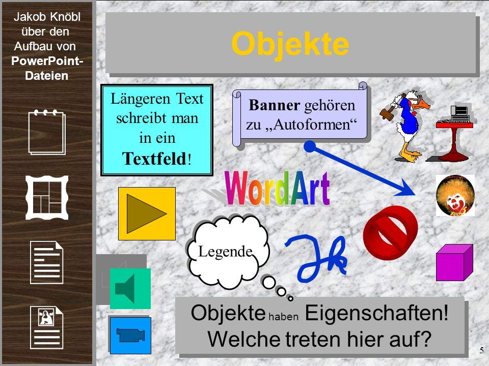 Jakob Knöbl über den Aufbau von PowerPoint- Dateien 6 Objekteigenschaften Der veränderte Stern mit 16 Ecken...