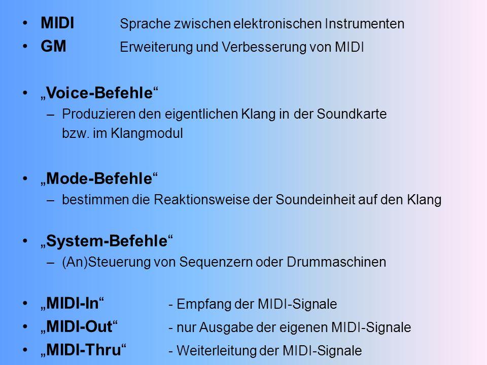 MIDI Sprache zwischen elektronischen Instrumenten GM Erweiterung und Verbesserung von MIDI Voice-Befehle –Produzieren den eigentlichen Klang in der Soundkarte bzw.