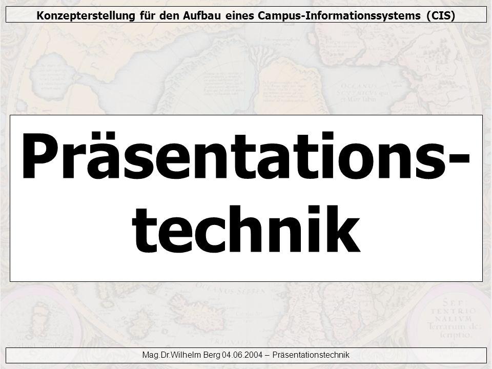 Konzepterstellung für den Aufbau eines Campus-Informationssystems (CIS) Mag.Dr.Wilhelm Berg 04.06.2004 – Präsentationstechnik Medien – Position Position Örtliche Gegebenheiten Gezielte Bewegung Kürzester Weg
