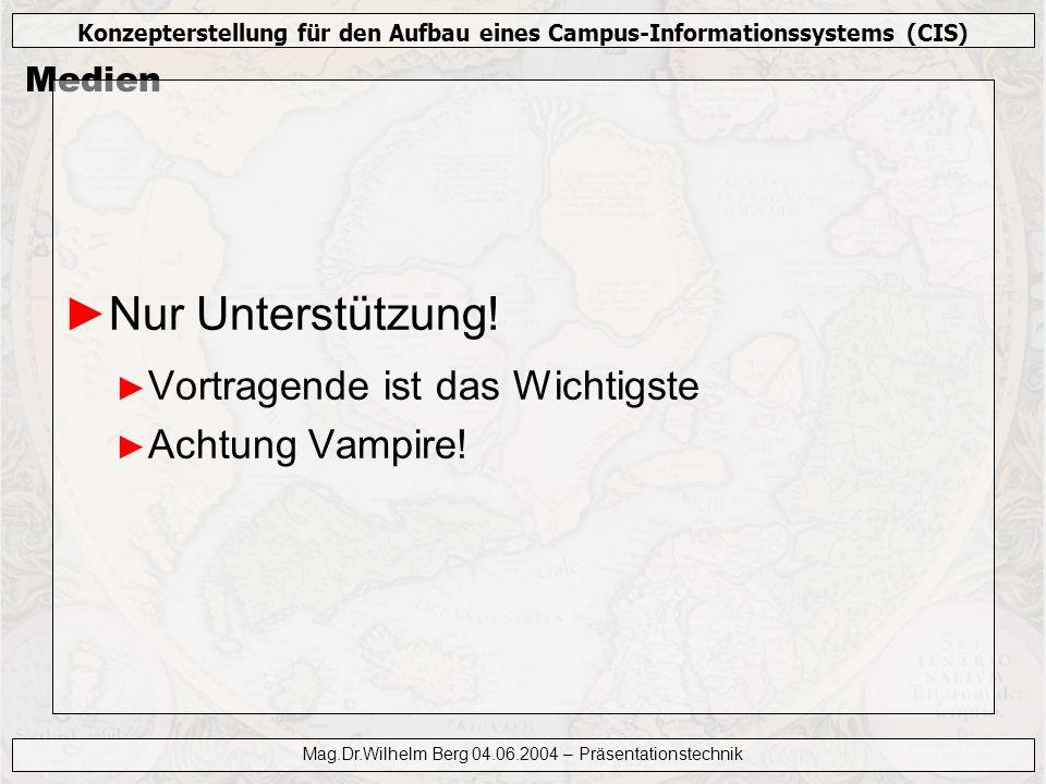 Konzepterstellung für den Aufbau eines Campus-Informationssystems (CIS) Mag.Dr.Wilhelm Berg 04.06.2004 – Präsentationstechnik Medien Nur Unterstützung
