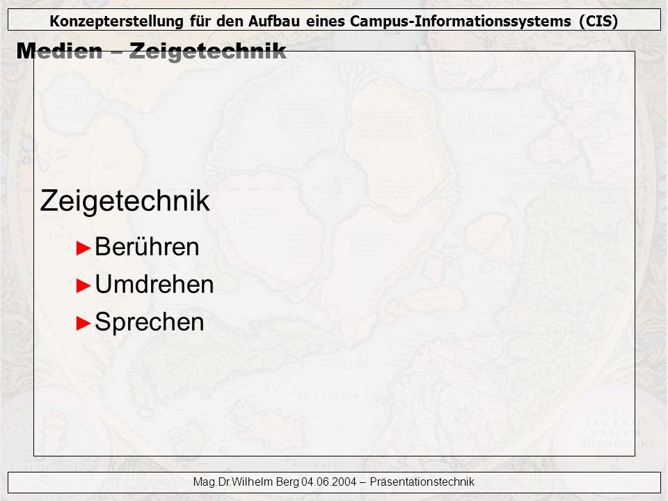 Konzepterstellung für den Aufbau eines Campus-Informationssystems (CIS) Mag.Dr.Wilhelm Berg 04.06.2004 – Präsentationstechnik Medien – Zeigetechnik Ze