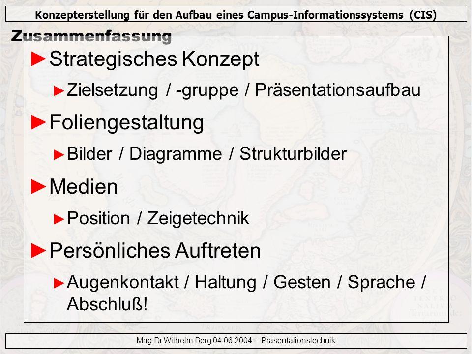 Konzepterstellung für den Aufbau eines Campus-Informationssystems (CIS) Mag.Dr.Wilhelm Berg 04.06.2004 – Präsentationstechnik Zusammenfassung Strategi