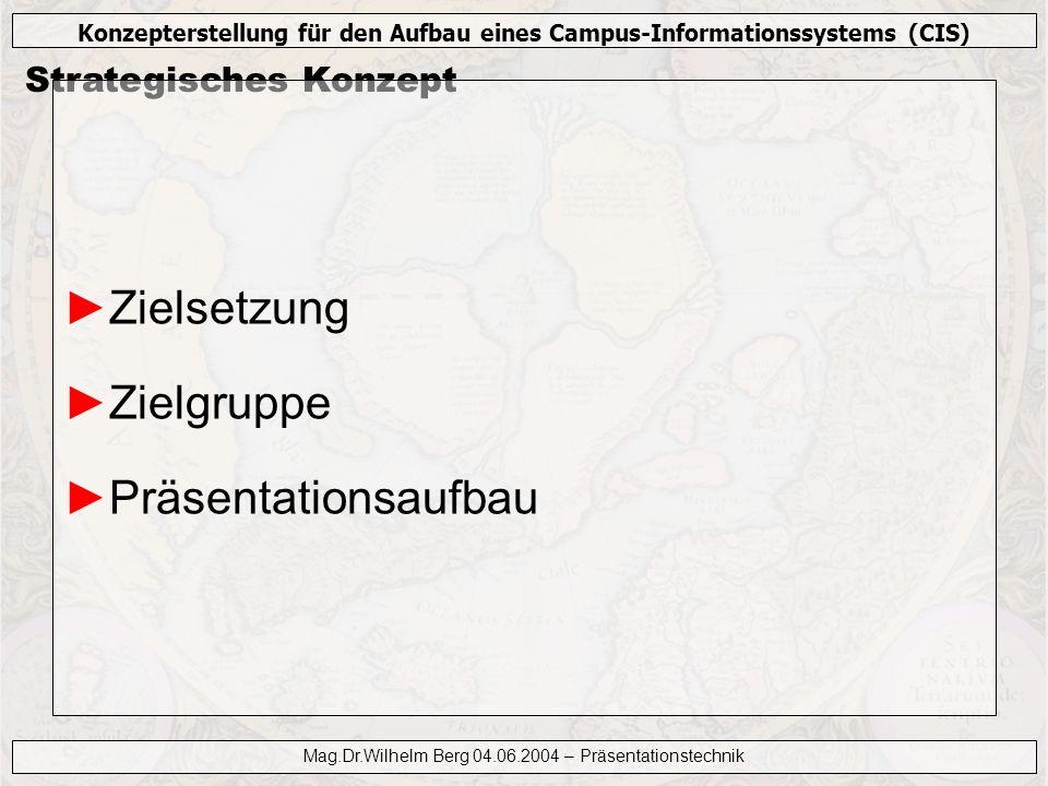 Konzepterstellung für den Aufbau eines Campus-Informationssystems (CIS) Mag.Dr.Wilhelm Berg 04.06.2004 – Präsentationstechnik Persönliches Auftreten Augenkontakt Haltung Gesten Sprache Abschluß!