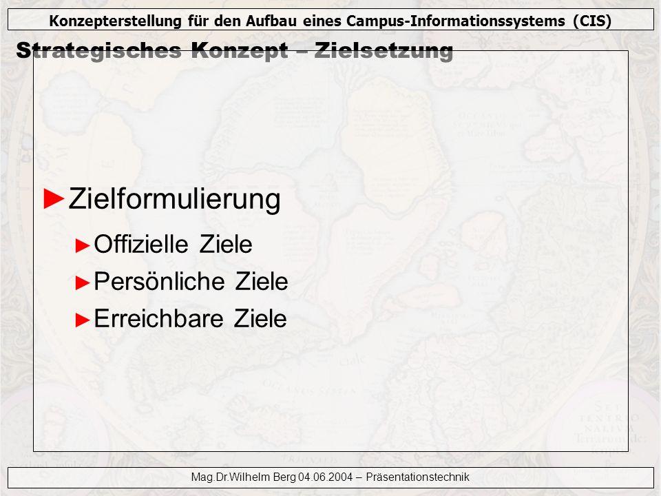 Konzepterstellung für den Aufbau eines Campus-Informationssystems (CIS) Mag.Dr.Wilhelm Berg 04.06.2004 – Präsentationstechnik Strategisches Konzept – Zielgruppe Was interessiert die Zuhörer.