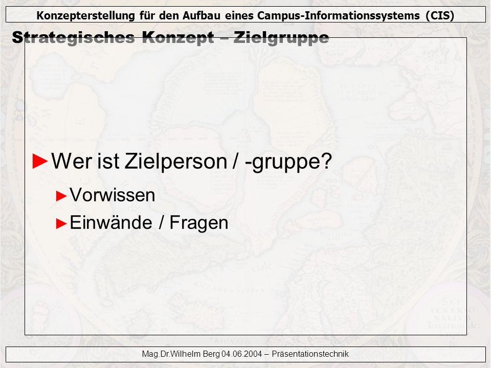 Konzepterstellung für den Aufbau eines Campus-Informationssystems (CIS) Mag.Dr.Wilhelm Berg 04.06.2004 – Präsentationstechnik