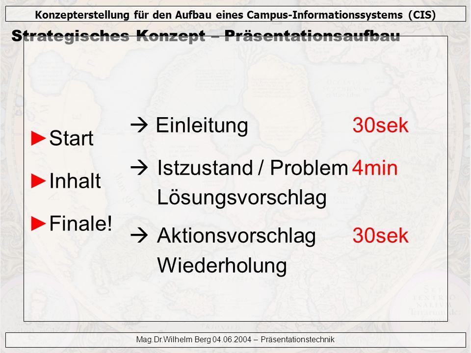 Konzepterstellung für den Aufbau eines Campus-Informationssystems (CIS) Mag.Dr.Wilhelm Berg 04.06.2004 – Präsentationstechnik Foliengestaltung Visualisieren.