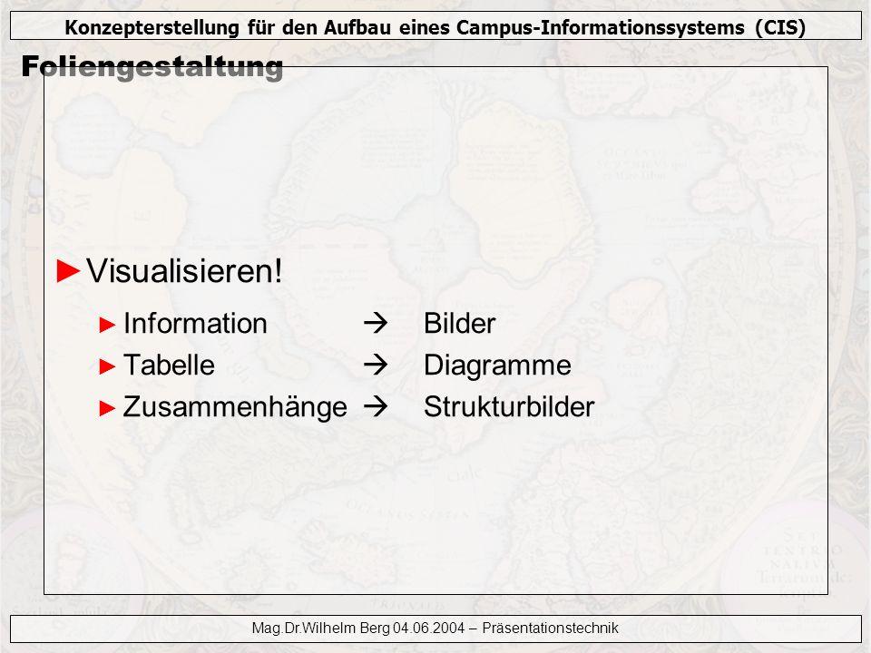 Konzepterstellung für den Aufbau eines Campus-Informationssystems (CIS) Mag.Dr.Wilhelm Berg 04.06.2004 – Präsentationstechnik Foliengestaltung Visuali