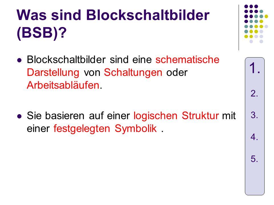 Was sind Blockschaltbilder (BSB)? Blockschaltbilder sind eine schematische Darstellung von Schaltungen oder Arbeitsabläufen. Sie basieren auf einer lo
