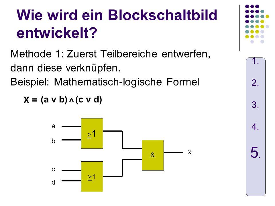 Wie wird ein Blockschaltbild entwickelt? Methode 1: Zuerst Teilbereiche entwerfen, dann diese verknüpfen. Beispiel: Mathematisch-logische Formel X = >