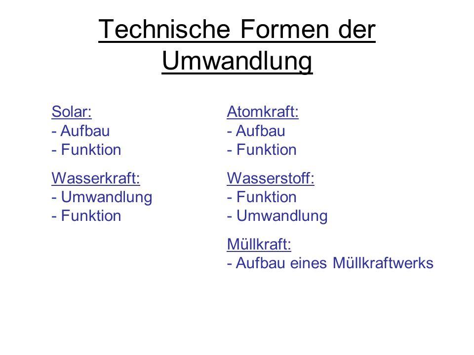 Solar: - Aufbau - Funktion Wasserkraft: - Umwandlung - Funktion Technische Formen der Umwandlung Atomkraft: - Aufbau - Funktion Wasserstoff: - Funktio