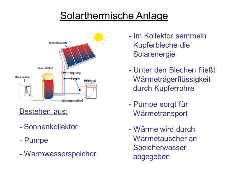 Solarthermische Anlage Bestehen aus: - Sonnenkollektor - Pumpe - Warmwasserspeicher - Im Kollektor sammeln Kupferbleche die Solarenergie - Unter den B
