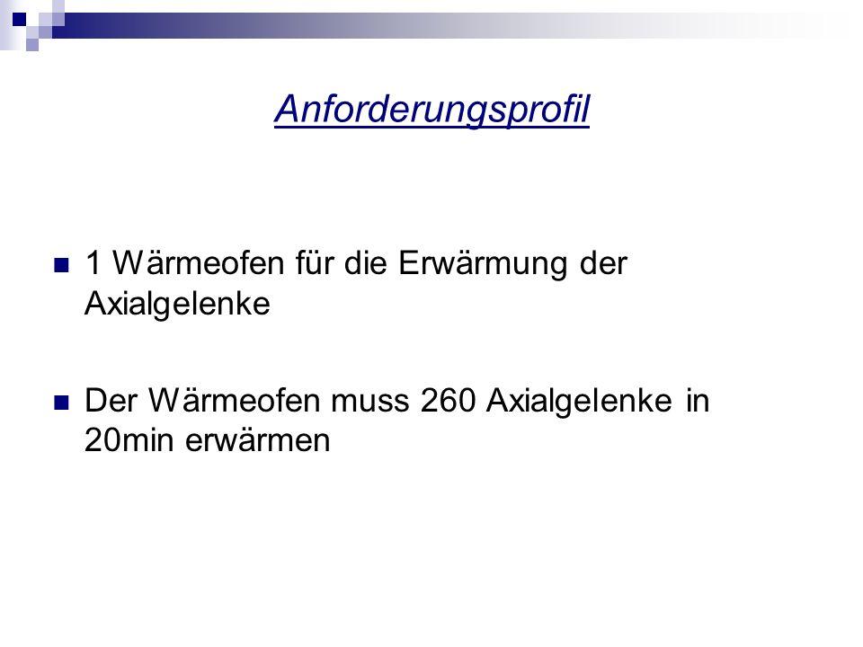 Anforderungsprofil 1 Wärmeofen für die Erwärmung der Axialgelenke Der Wärmeofen muss 260 Axialgelenke in 20min erwärmen