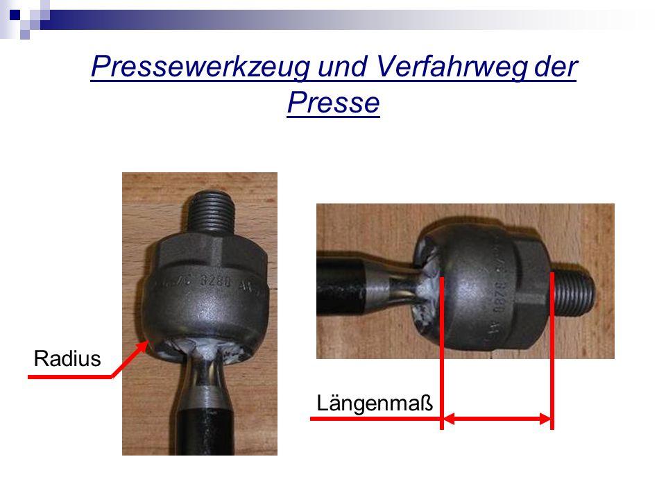 Pressewerkzeug und Verfahrweg der Presse Radius Längenmaß
