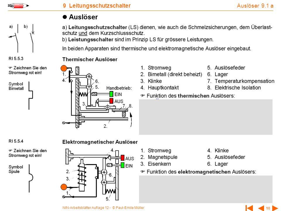 NIN-Arbeitsblätter Auflage 12 - © Paul-Emile Müller 10 9 Leitungsschutzschalter Auslöser 9.1 a