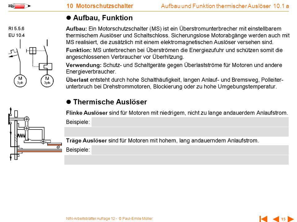 NIN-Arbeitsblätter Auflage 12 - © Paul-Emile Müller 15 10 Motorschutzschalter Aufbau und Funktion thermischer Auslöser 10.1 a