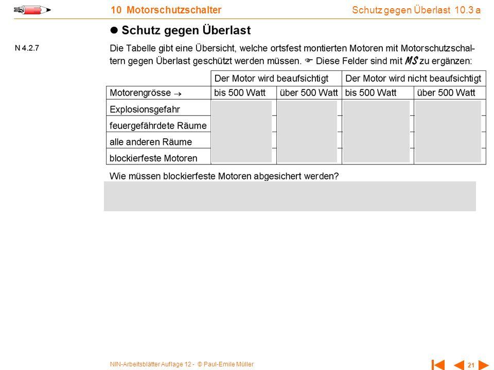 NIN-Arbeitsblätter Auflage 12 - © Paul-Emile Müller 21 10 Motorschutzschalter Schutz gegen Überlast 10.3 a