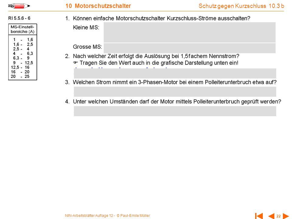 NIN-Arbeitsblätter Auflage 12 - © Paul-Emile Müller 22 10 Motorschutzschalter Schutz gegen Kurzschluss 10.3 b