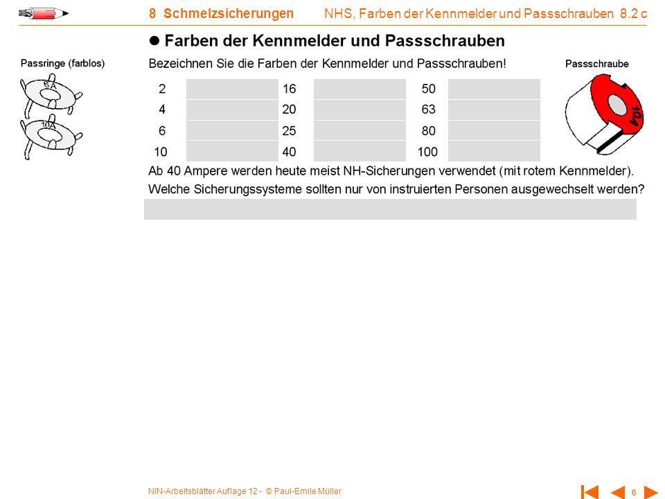 NIN-Arbeitsblätter Auflage 12 - © Paul-Emile Müller 6 8 Schmelzsicherungen NHS, Farben der Kennmelder und Passschrauben 8.2 c