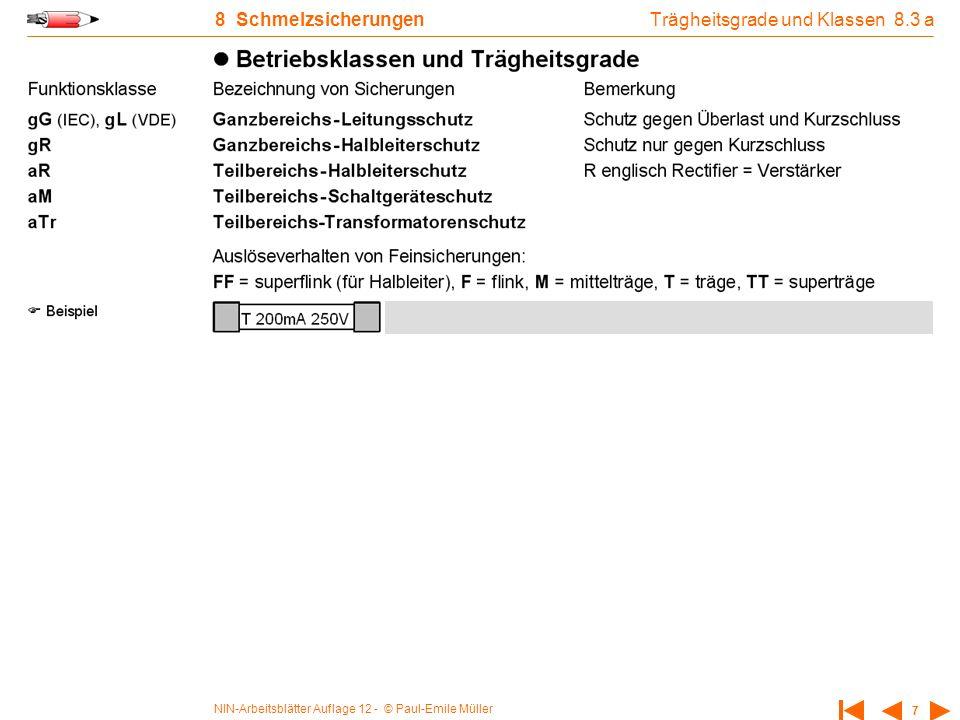 NIN-Arbeitsblätter Auflage 12 - © Paul-Emile Müller 7 8 Schmelzsicherungen Trägheitsgrade und Klassen 8.3 a