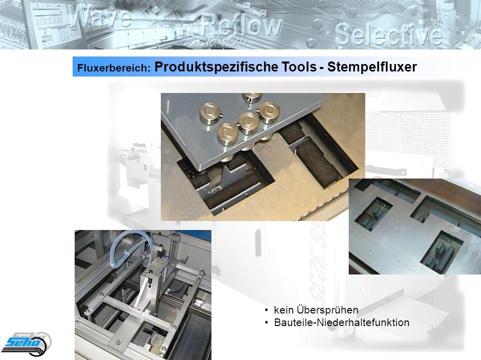 13 Fluxerbereich: Produktspezifische Tools - Stempelfluxer kein Übersprühen Bauteile-Niederhaltefunktion