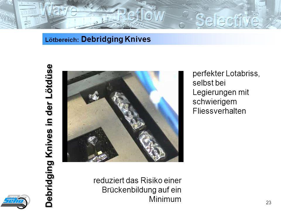 23 Debridging Knives in der Lötdüse Lötbereich: Debridging Knives perfekter Lotabriss, selbst bei Legierungen mit schwierigem Fliessverhalten reduziert das Risiko einer Brückenbildung auf ein Minimum