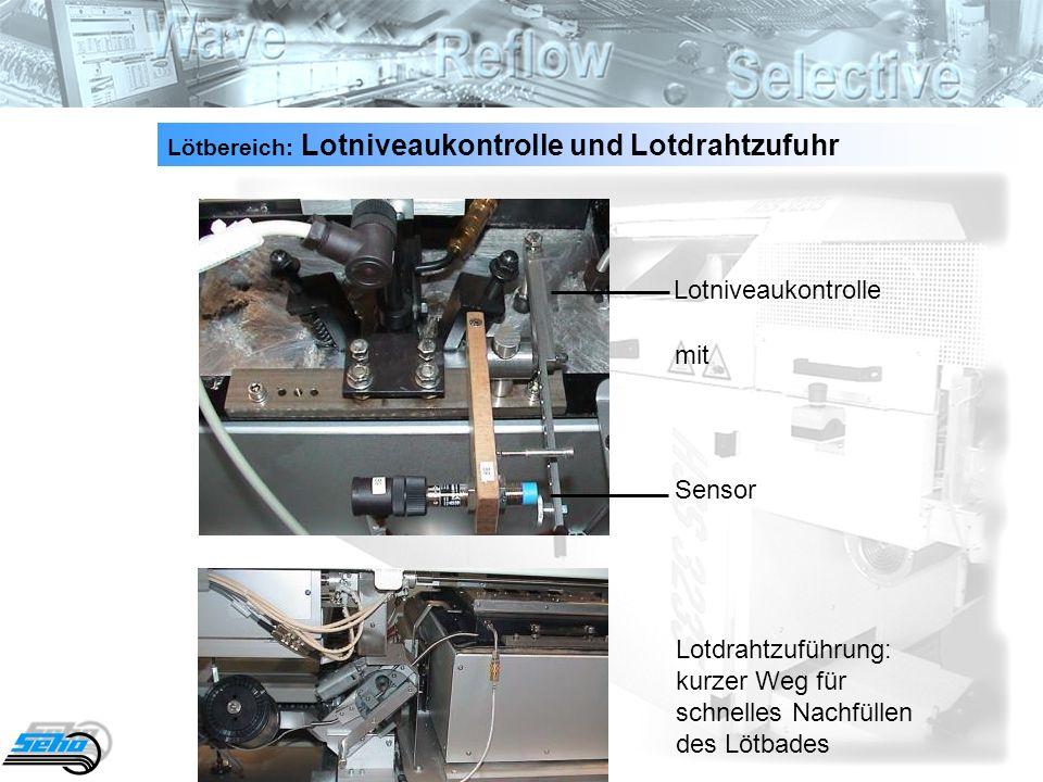 26 Lötbereich: Lotniveaukontrolle und Lotdrahtzufuhr Lotniveaukontrolle mit Sensor Lotdrahtzuführung: kurzer Weg für schnelles Nachfüllen des Lötbades
