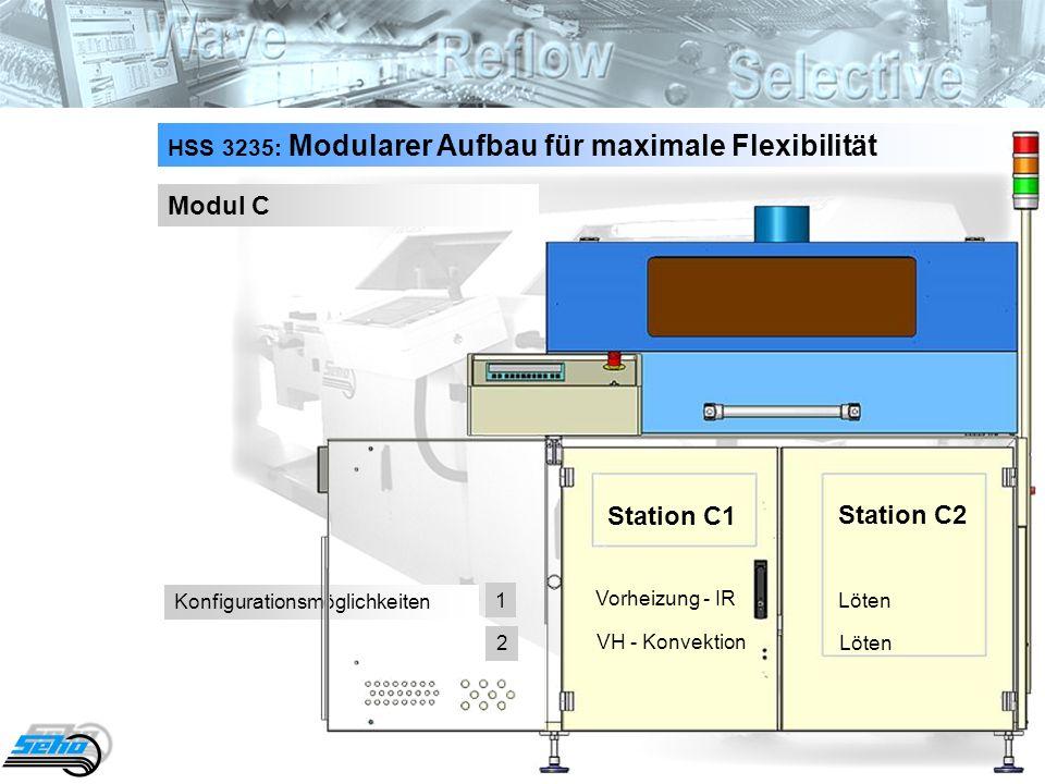 7 HSS 3235: Modularer Aufbau für maximale Flexibilität Modul C Konfigurationsmöglichkeiten Station C1 Station C2 Vorheizung - IR Löten VH - Konvektion Löten 1 2