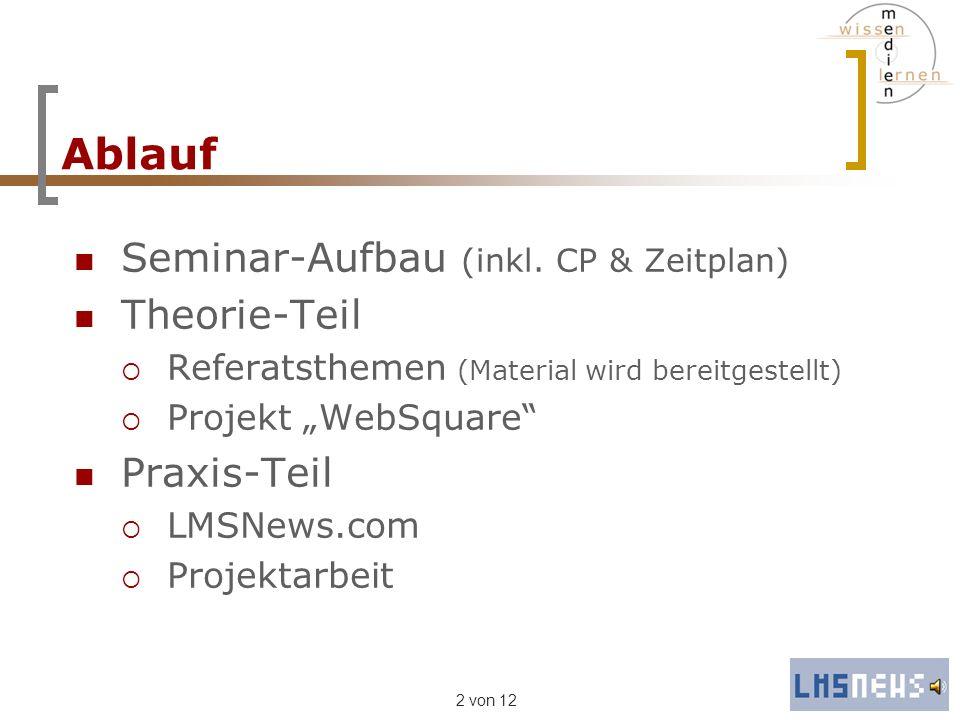 2 von 12 Ablauf Seminar-Aufbau (inkl. CP & Zeitplan) Theorie-Teil Referatsthemen (Material wird bereitgestellt) Projekt WebSquare Praxis-Teil LMSNews.
