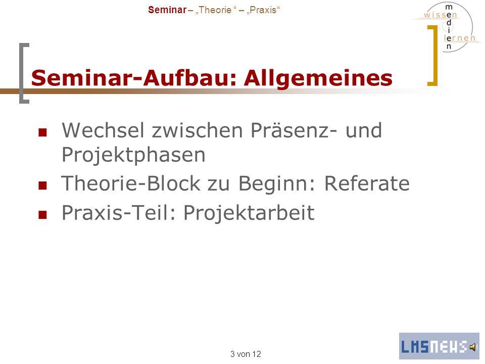 3 von 12 Seminar-Aufbau: Allgemeines Wechsel zwischen Präsenz- und Projektphasen Theorie-Block zu Beginn: Referate Praxis-Teil: Projektarbeit Seminar