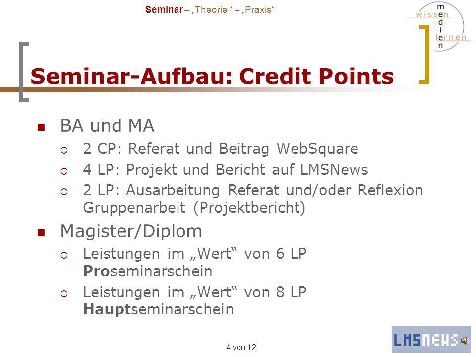 4 von 12 Seminar-Aufbau: Credit Points BA und MA 2 CP: Referat und Beitrag WebSquare 4 LP: Projekt und Bericht auf LMSNews 2 LP: Ausarbeitung Referat