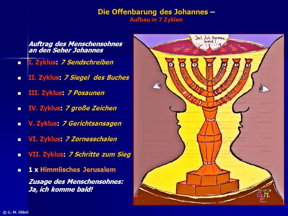 Die Offenbarung des Johannes – Aufbau in 7 Zyklen Auftrag des Menschensohnes an den Seher Johannes I. Zyklus: 7 Sendschreiben II. Zyklus: 7 Siegel des